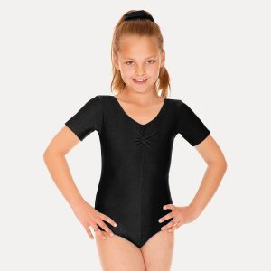 (a) Short sleeved Leotard in Black