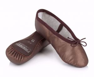 Aspire Leather Ballet Shoes in Bronze and Brown